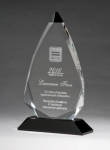 Arrow Series Crystal Award with Black Accent Black Optical Crystal Awards