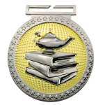 Dual Plated  Medallion - Book and Lamp Dual Plated Medal Awards