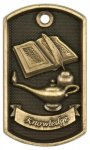 3-D Dog Tag - Lamp of Knowledge Education Trophy Awards