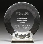 Corporate Crystal Facet Plates Employee Awards